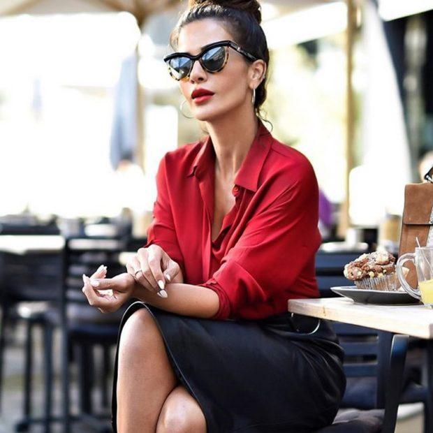 цвета весна лето 2019 года: одежда черный с красным