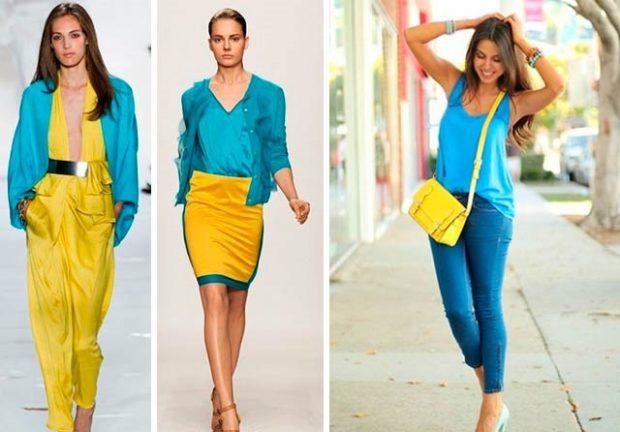 цвета весна лето 2019 года: одежда сочетание синего с желтым