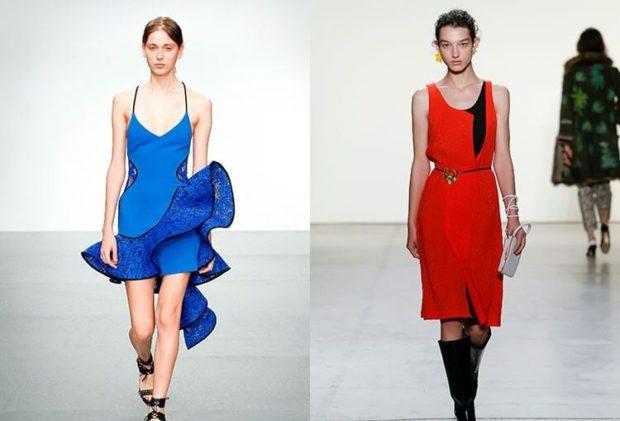 цвета весна лето 2019: одежда синий красный