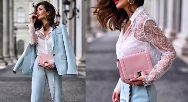 цвета весна лето 2019 года: одежда сочетание голубого с белым