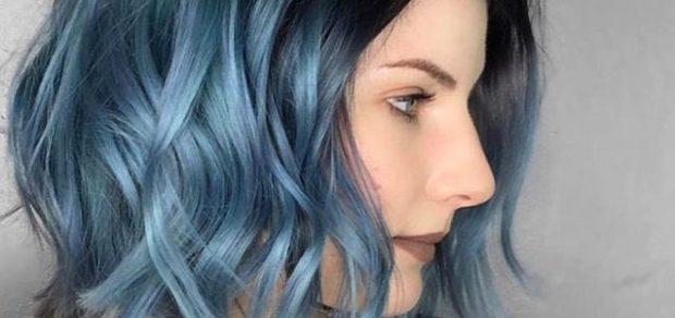 модный цвет волос серо-голубой