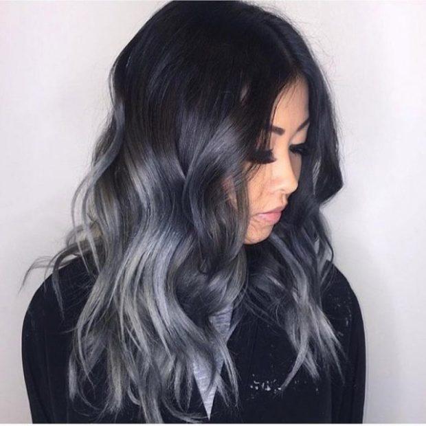 модный цвет волос черно-серый