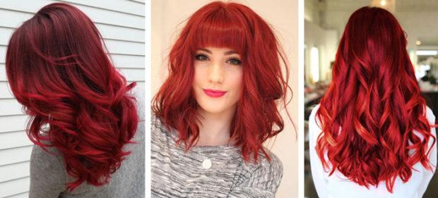 модный цвет волос красный
