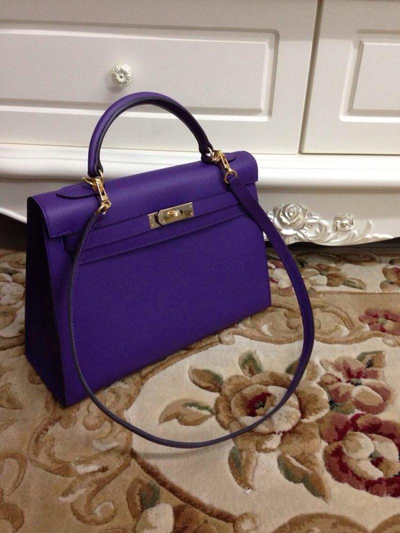 сумка кожаная цвет ультрафиолетовый