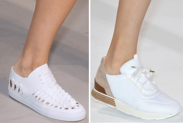 модные цвета 2019 года весна лето: белые кеды кроссовки белые с бежевым