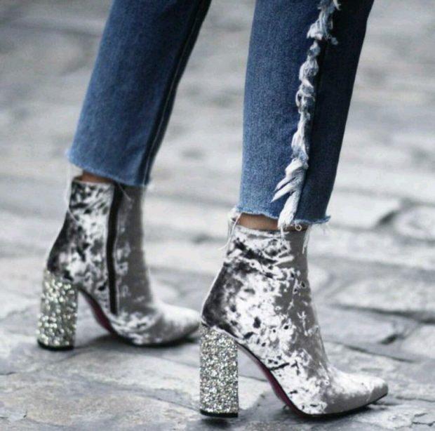 ботинки серебристые на толстом каблуке