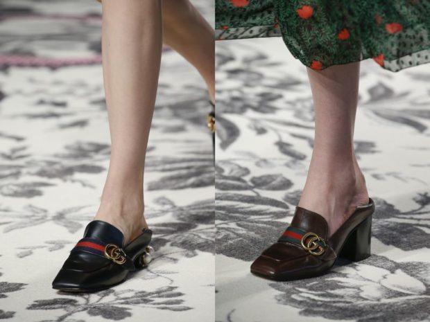 туфли с открытой пяткой кожаные