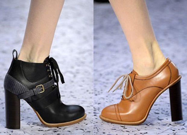 модные цвета 2019 года весна лето: туфли на толстом каблуке черные коричневые