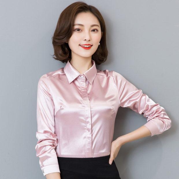 модные блузки весна лето 2019: вечерняя розовая шелковая