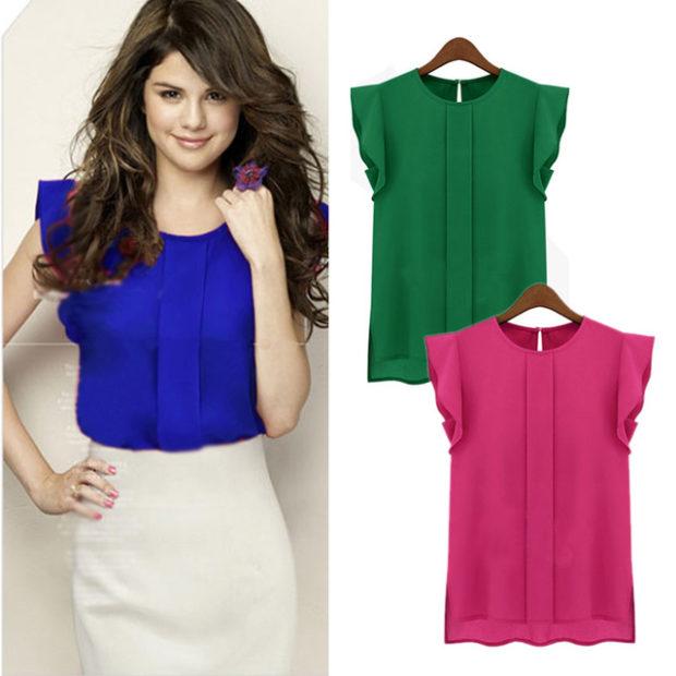 модные блузки весна лето 2019: с коротким рукавом синяя зеленая малиновая