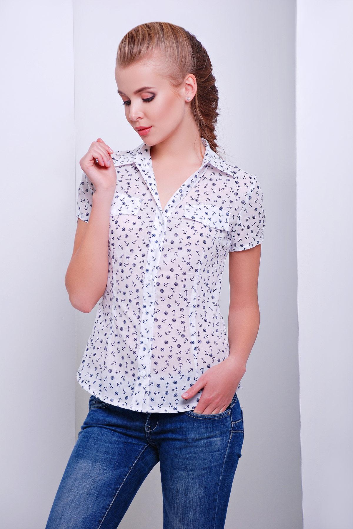 модные блузки весна лето 2019: с коротким рукавом белая в цветочек