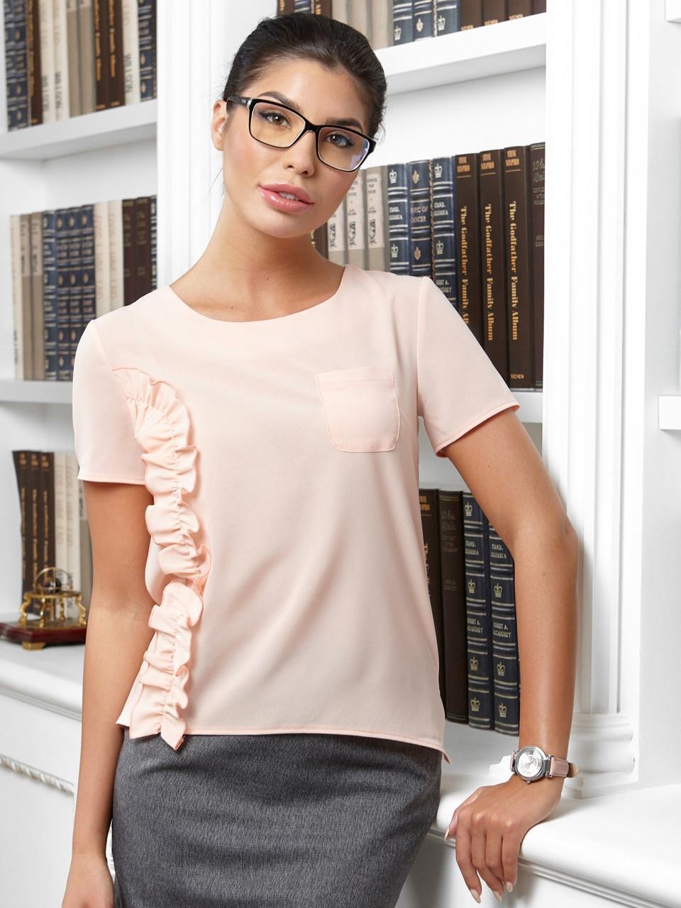 модные блузки весна лето 2019: с коротким рукавом персиковая декор воланы