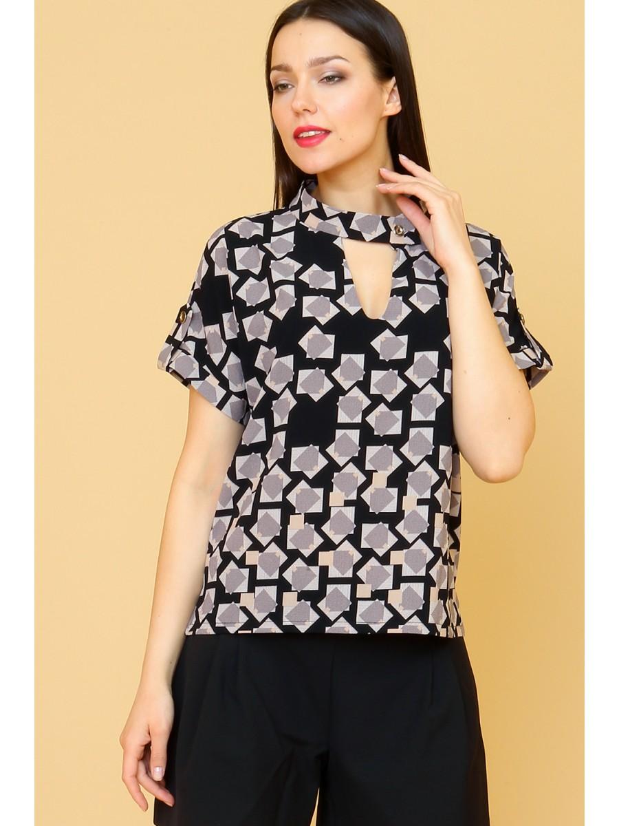 модные блузки весна лето 2019: с коротким рукавом с вырезом ворот стойка в принт