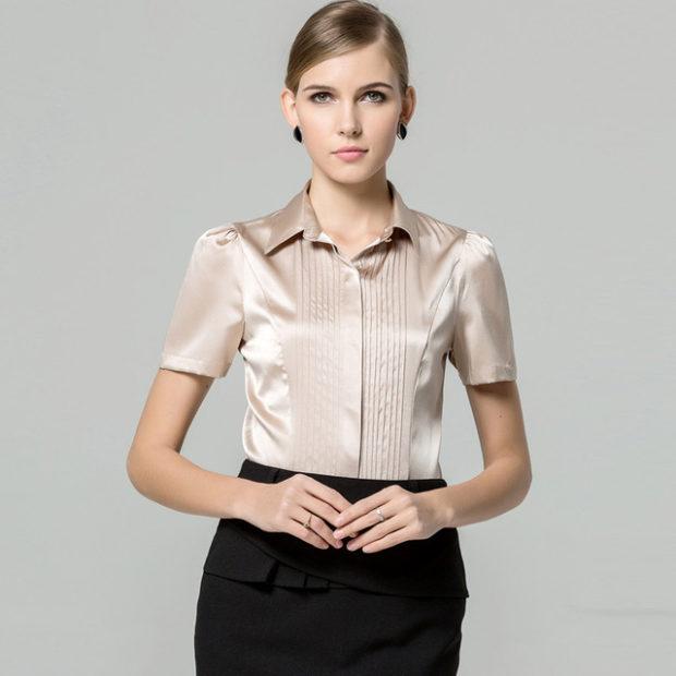 модные блузки весна лето 2019: с коротким рукавом кофейная