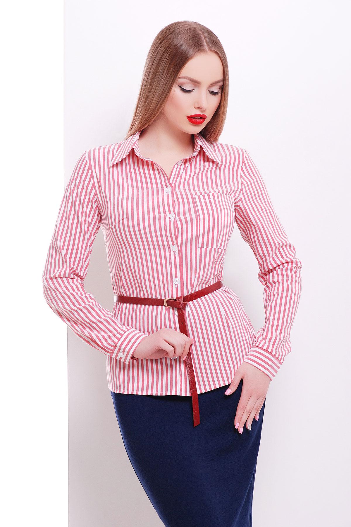 модные блузки весна лето 2019 фото: с длинным рукавом красная с белым в полоску