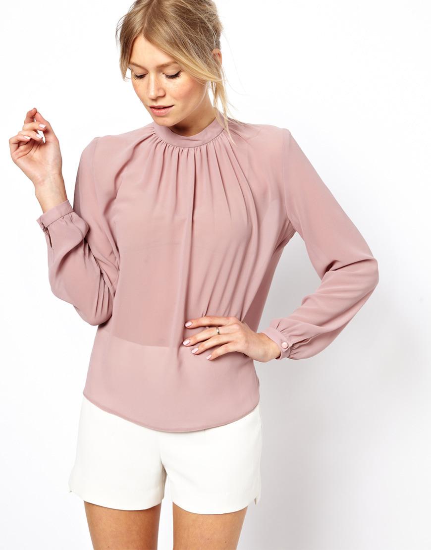 модные блузки весна лето 2019 фото: с длинным рукавом шифоновая нежно-розовая