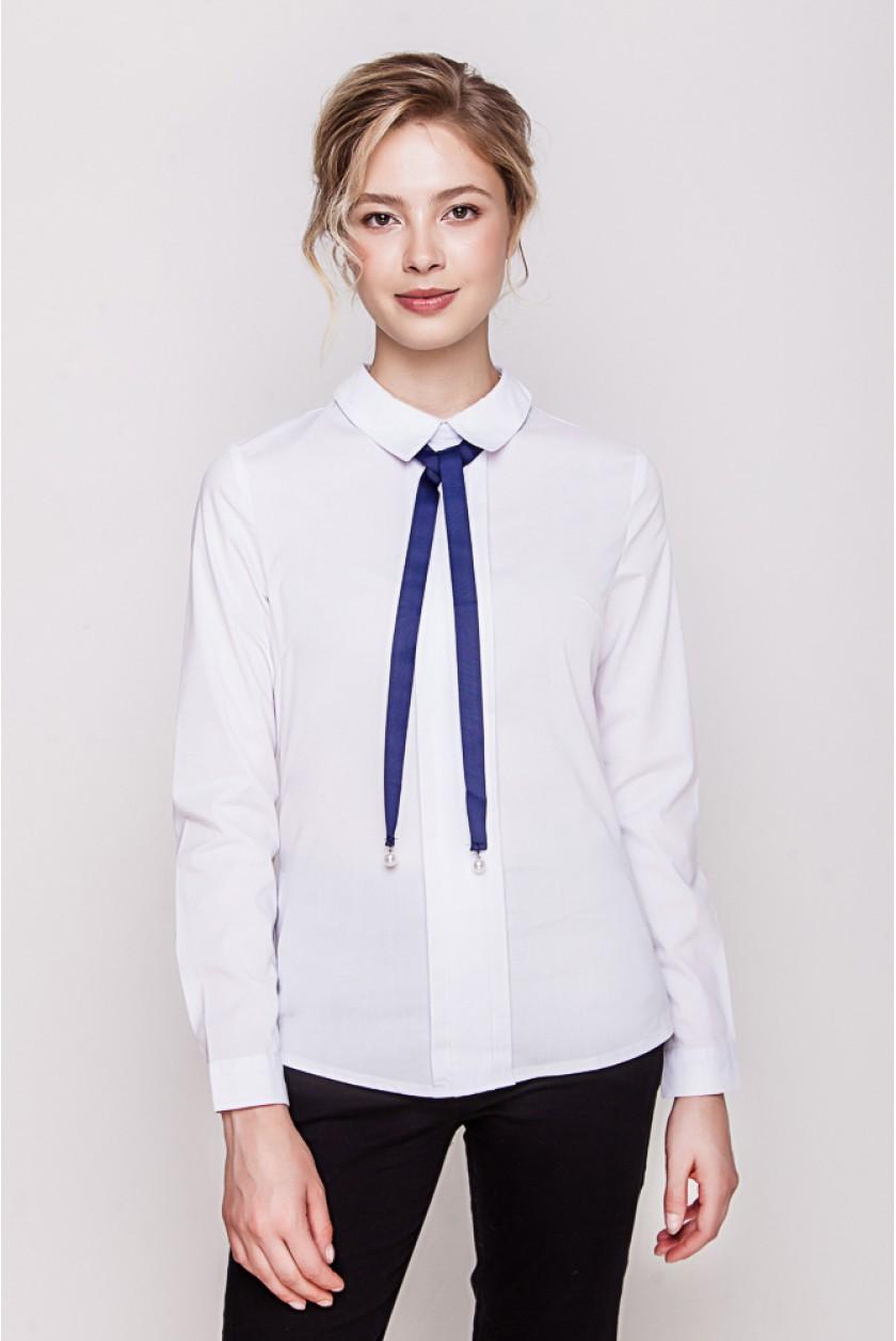 модные блузки весна лето 2019 фото: с длинным рукавом белая с синими завязками
