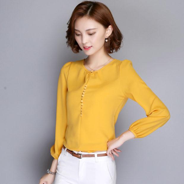 модные блузки весна лето 2019 фото: с длинным рукавом желтая шифоновая