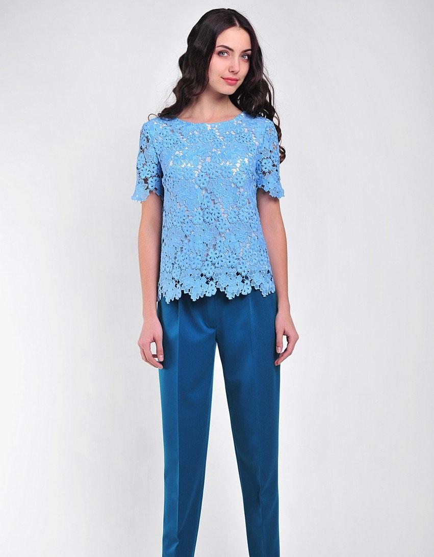 блузки 2019 года фото весна лето: кружевная голубая рукав короткий