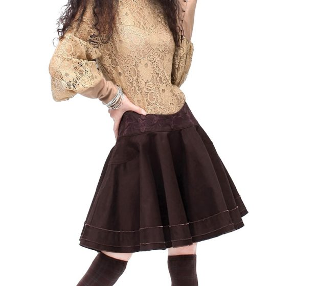 модные женские блузки весна лето 2019: кружевная коричневая рукава широкие