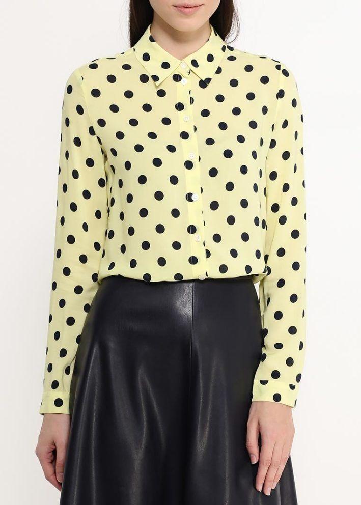 модные женские блузки весна лето 2019: в горох желтая с черным