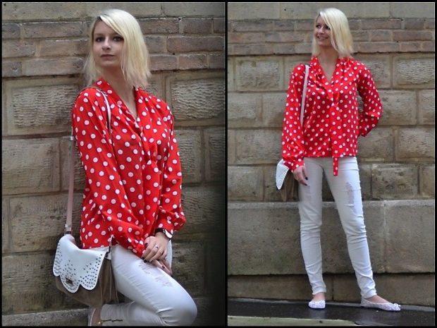 модные женские блузки весна лето 2019: красная в белый горох
