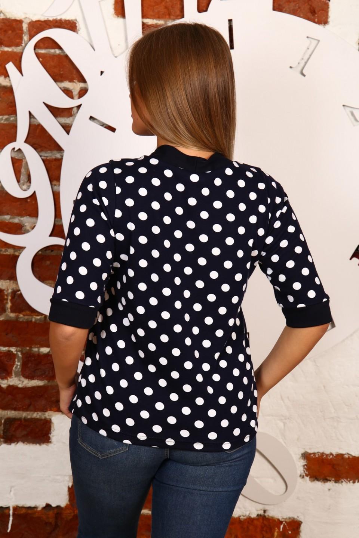 модные женские блузки весна лето 2019: черная в белый горох рукав 3/4