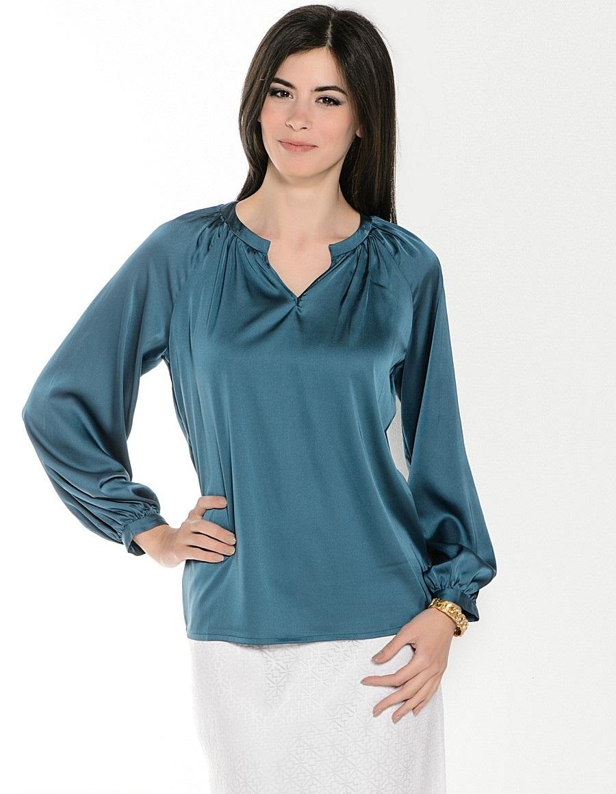 блузки весна лето 2019: с рукавом реглан зелено-синяя