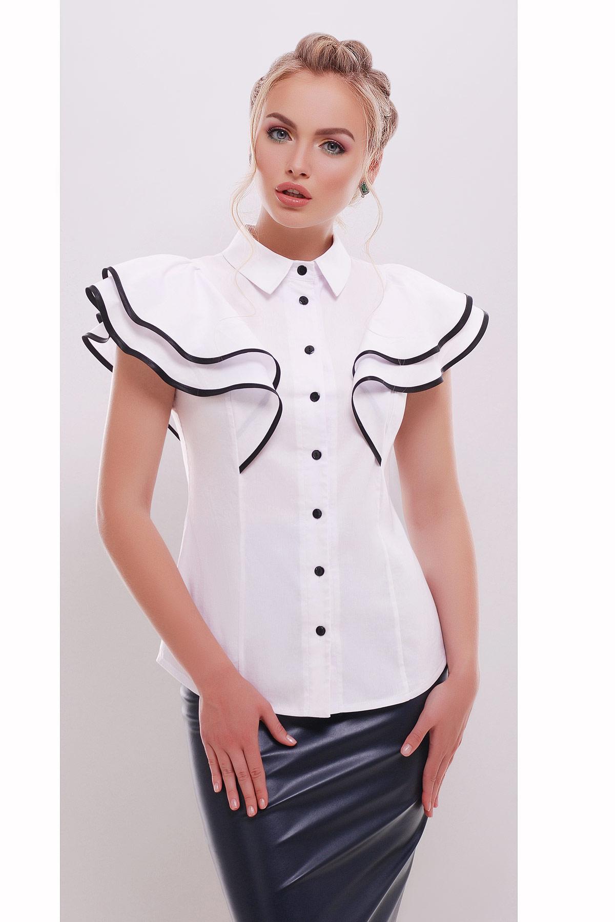модные блузки весна лето 2019: вечерняя белая рукава с воланами