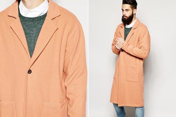 пальто мужское весна 2019: светлое с одной пуговкой