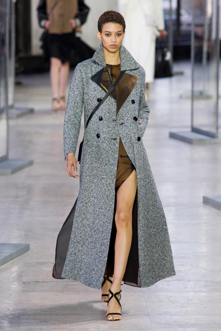 пальто весна 2019 цвета: макси двубортное гусиная лапка