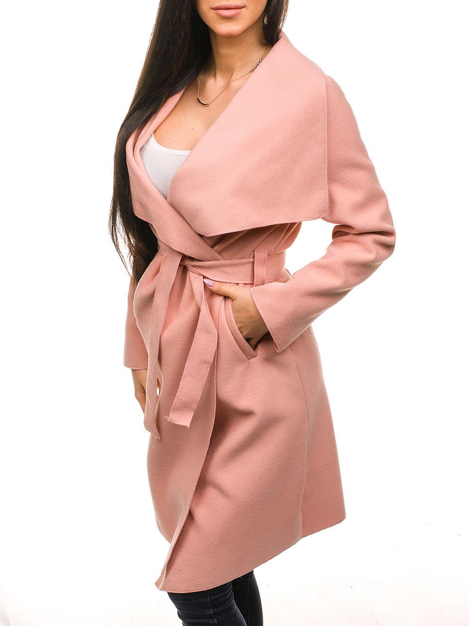 пальто весна 2019 цвета: розовое с карманами под пояс