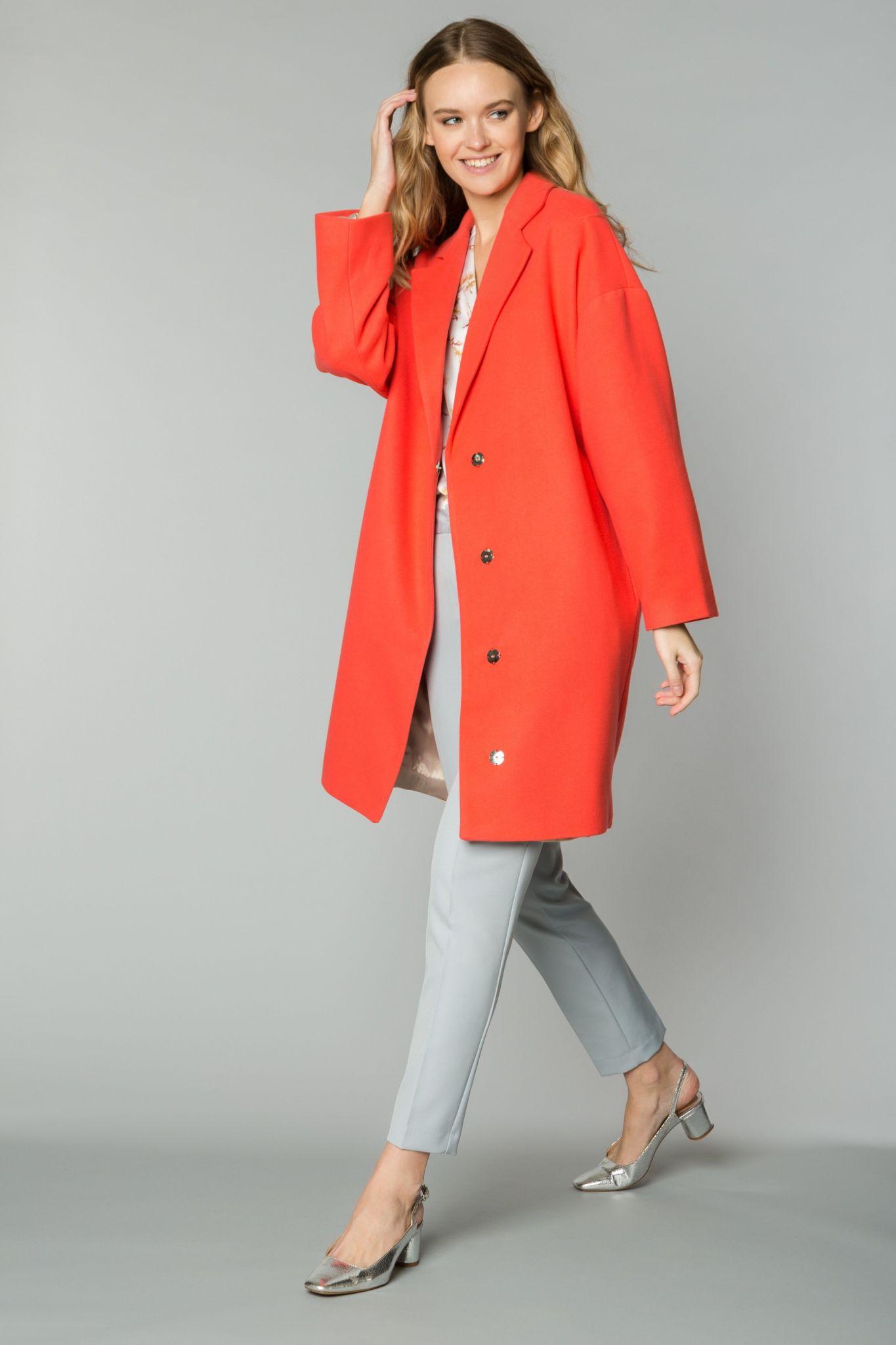 пальто весна 2019 цвета: коралловое свободного кроя
