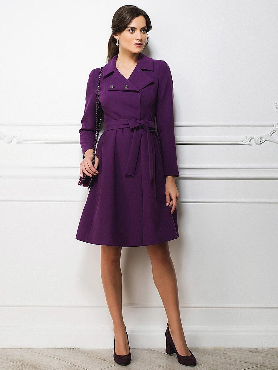 пальто весна 2019 цвета: фиолетовое под пояс