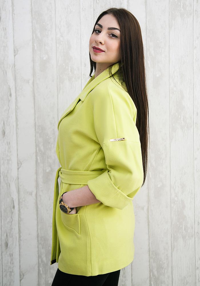 пальто весна 2019 цвета: салатовое короткое рукав 3/4 под пояс