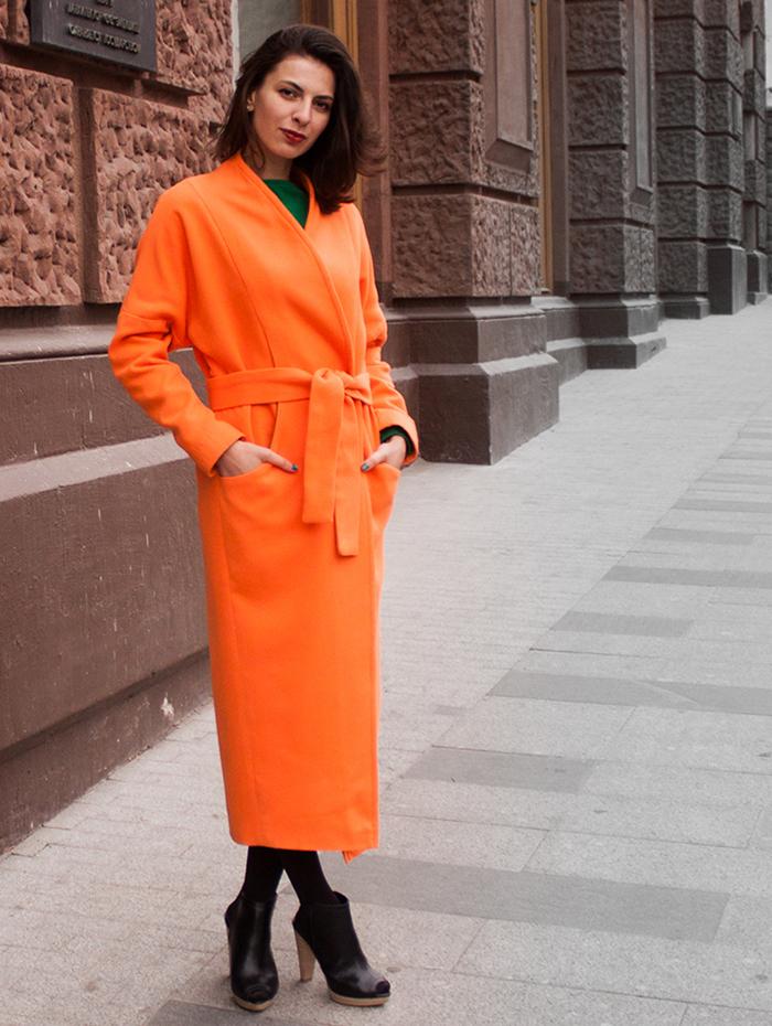 пальто весна 2019 цвета: макси оранжевое под пояс