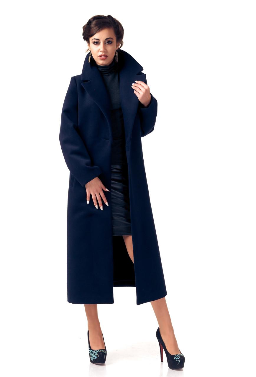 пальто весна 2019: синее миди без застежки
