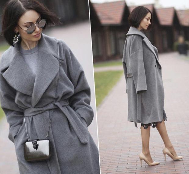 модные цвета пальто весна 2019: серое оверсайз под пояс