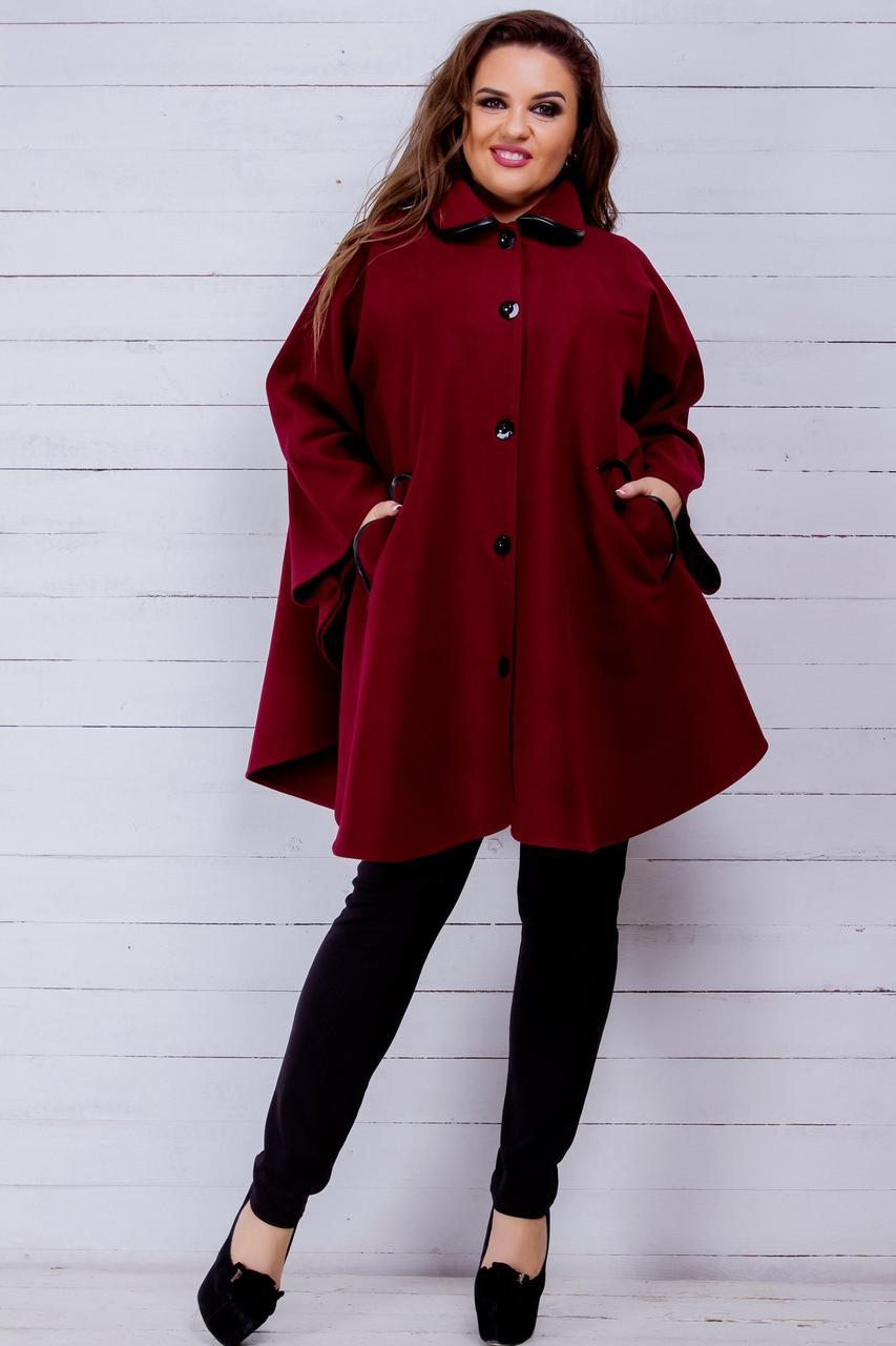 фасоны пальто весна 2019: пончо красное