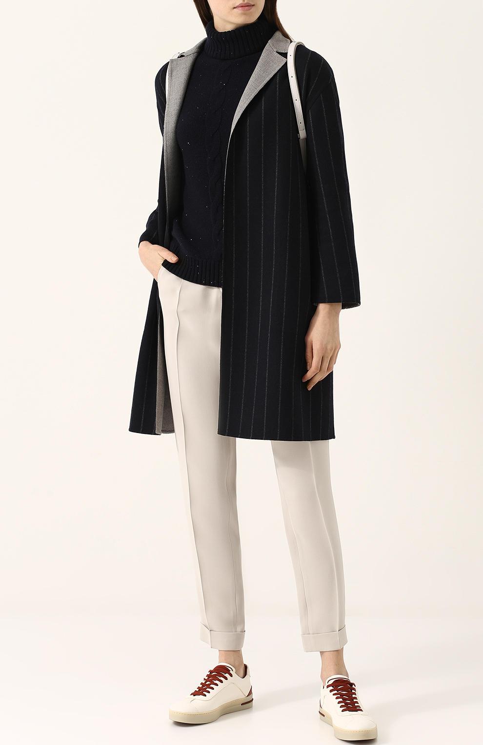 фасоны пальто весна 2019: черное в полоску с коротким рукавом