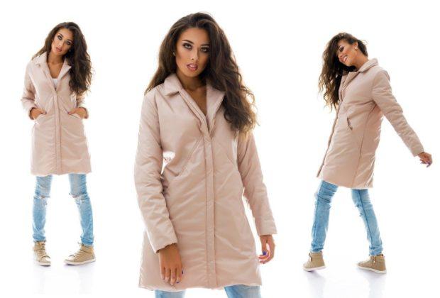 пальто на синтепоне весна 2019: розовое с карманами