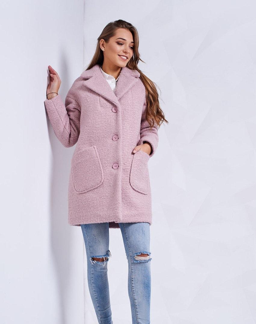 пальто на синтепоне весна 2019: короткое розовое с карманами
