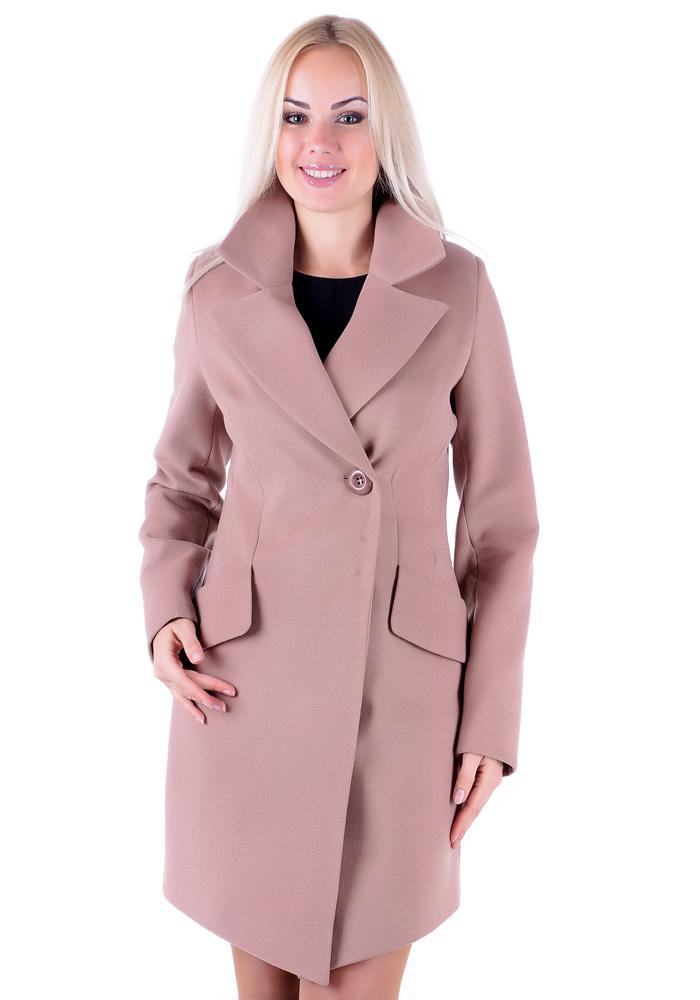 пальто весна 2019: розовое с одной пуговкой