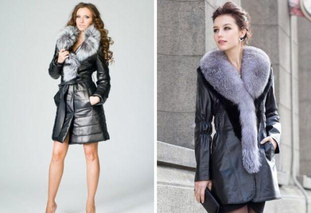 болоньевое пальто 2019 весна: черное с мехом под пояс без пояса