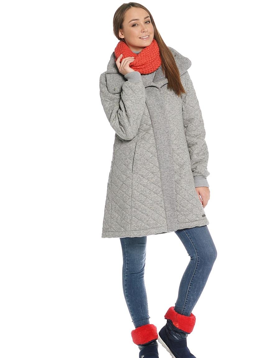 стеганное пальто весна 2019: серое шерстяное