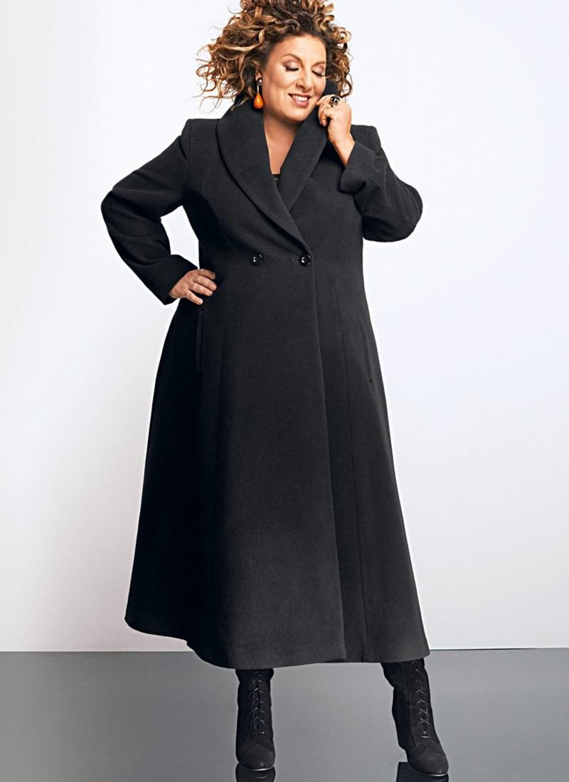 пальто для полных весна 2019: черное миди