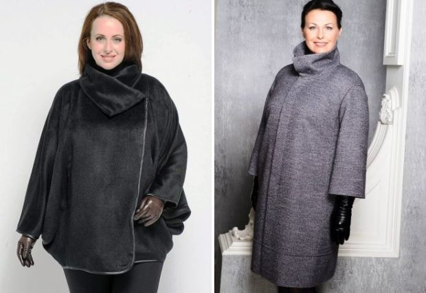 пальто для полных весна 2019: пончо из меха серое классика