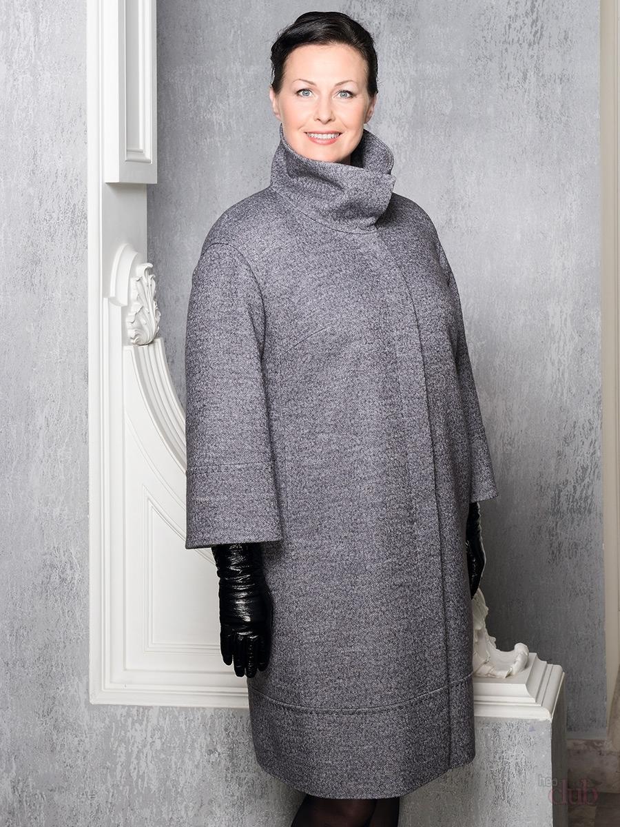 пальто для полных весна 2019: серое рукав укороченный