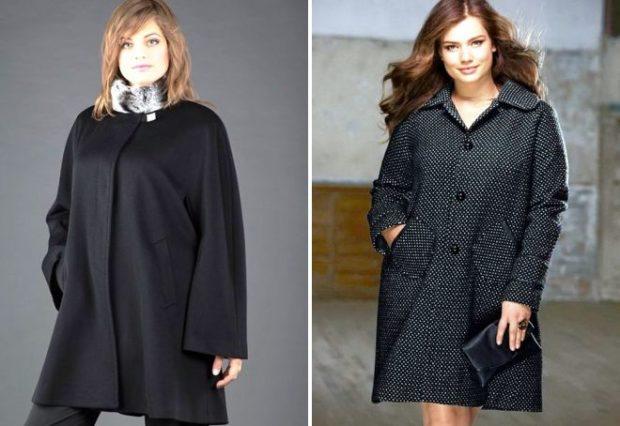пальто для полных весна 2019: черное свободный рукав гусиная лапка