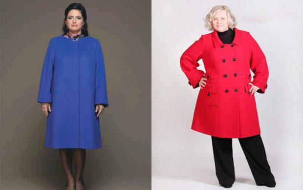 пальто для полных весна 2019: синее красное двубортное